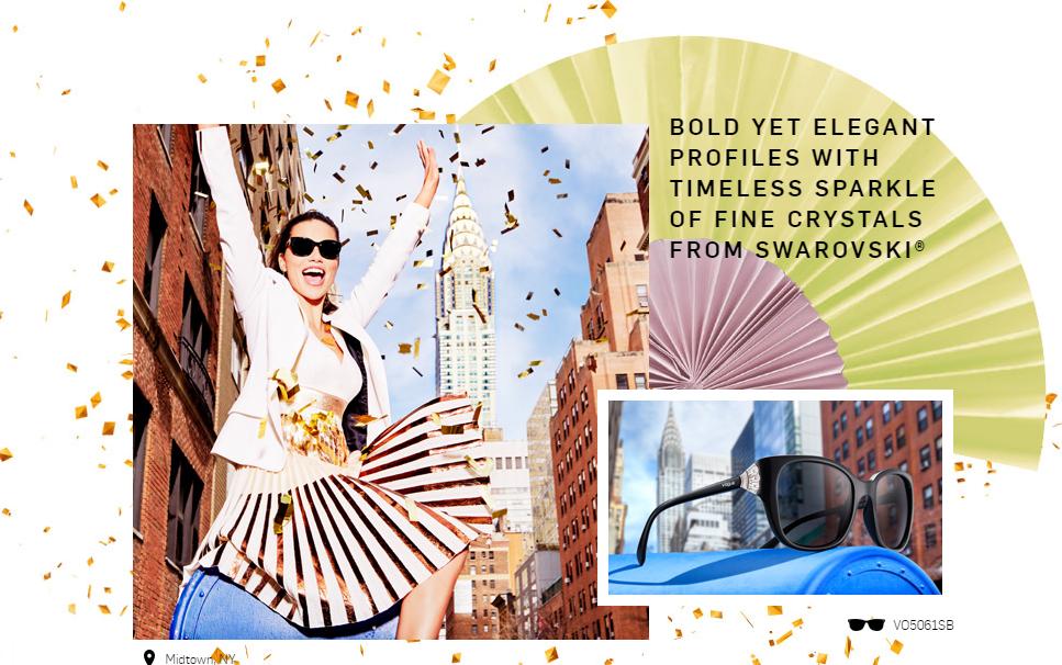U gradu koji nikada ne spava Adriana Lima sija u naočarima ukrašenim kristalnom lepezom sa Swarovski kristalima VO5061SB